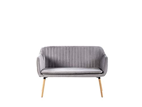 Beliani Modernes 2-Sitzer Küchensofa Samtstoff hellgrau mit Metallgestell Holzoptik Taby