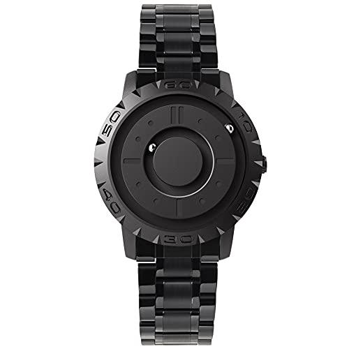 EUTOUR Reloj Analógico para Hombre y Mujer Reloj Magnético de Cuarzo Suizo Relojes de Pulsera Originales con Correa de Acero Inoxidable Negro