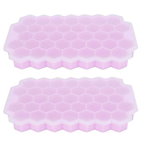 2 bandejas de cubitos de hielo, moldes de silicona para cubitos de hielo con tapa flexible 37 bandejas para cubitos de hielo apilables, color rosa