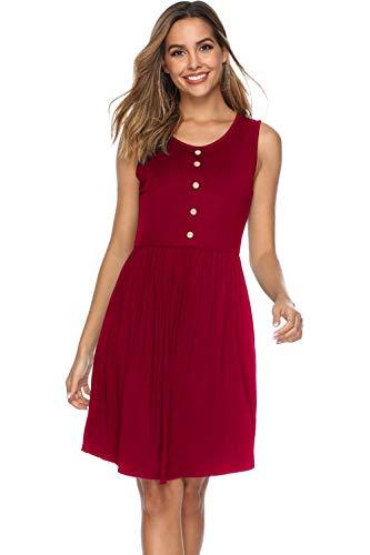 Stynice Sommerkleid Damen Ärmellos Strandkleider Einfarbig A-Linie Kleider