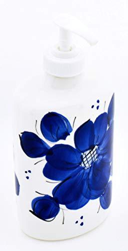 ART ESCUDELLERS Distributeur Savon Cuisine en céramique Faite et Peint à la Main avec décoration Bleu Classic. 8 cm x 6 cm x 18 cm