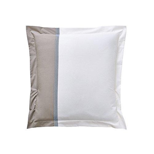 Essix - Taie d'oreiller Toi & Moi Escale Percale de Coton Meringue/Taupe 65 x 65 cm