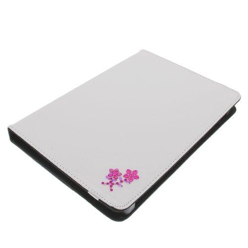 foto-kontor Tasche Strass Blume für Archos 101 Copper 101 Helium 4G Book Style Schutz Hülle Buch Weiss