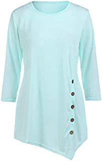KTHGSBM shirt Summer Women's O-neck Shirts Casual Long Sleeve Button Ladies Tops Solid Tunic Chiffon Blouse Female Tops 6XL Blue