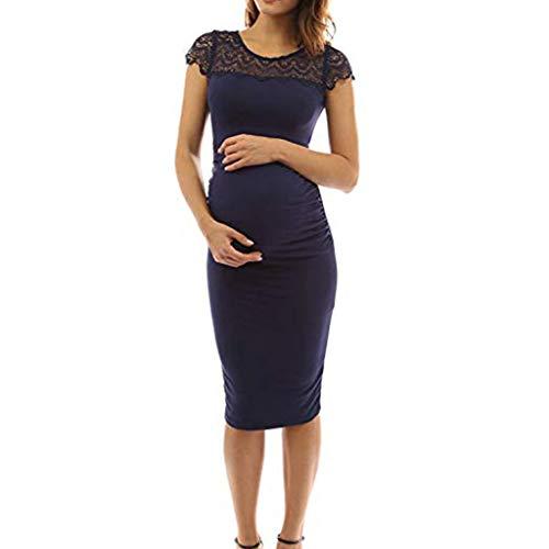 Vestido Premamá Moderna Fiesta Encaje,STRIR Largo de Encaje de Mujer Embarazada, de Maternidad Apoyos de fotografía Ropa Larga Maternidad y de Lactancia (XL, Azul Oscuro)