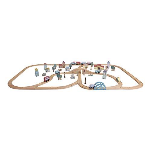 Little Dutch 4487 XXL Holz Eisenbahn mit Schienen Starter Set