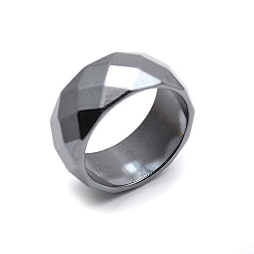 Buty-Bzi Faceted Hematite 10mm Width Rings Fashion Jewelry (Hematite, 11)