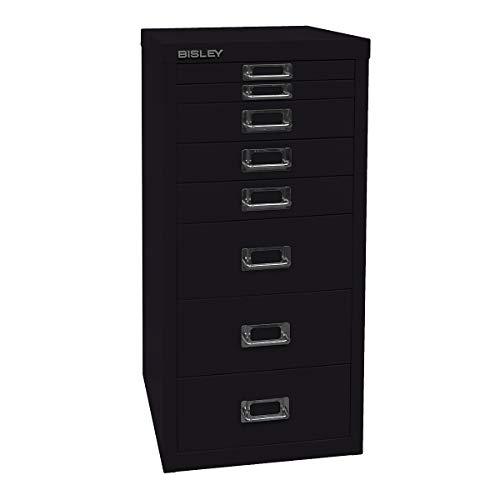 Bisley MultiDrawer™ 29er Serie - DIN A4, 8 Schubladen - schwarz | L298633 - Beistellcontainer Beistellschrank Beistellschränke Bürocontainer Büromöbel Büroschrank Büroschränke Registraturschrank Registraturschränke Schreibtischcontainer Schubladenschrank