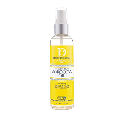 Design Essentials Protective Styles Moroccan Oil Finishing Shine Spray- Great for Virgin Hair Extensions, Weaves & Wigs- 4oz