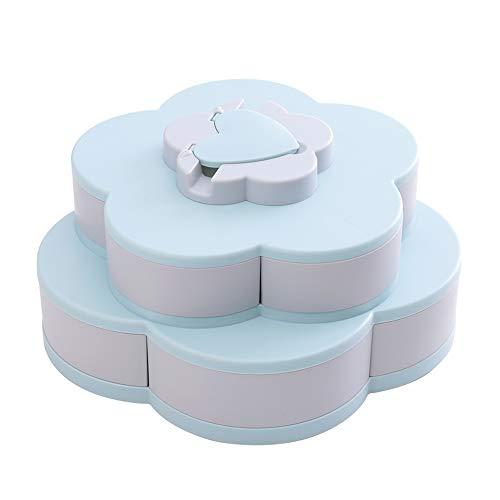 Genießen Sie das Leben - Bloom rotierenden Snack-Box, Blütenform Aufbewahrungsbox Amazing Bloom Snack Tray Pralinenschachtel Keksdosen Gläser (Blau, A)