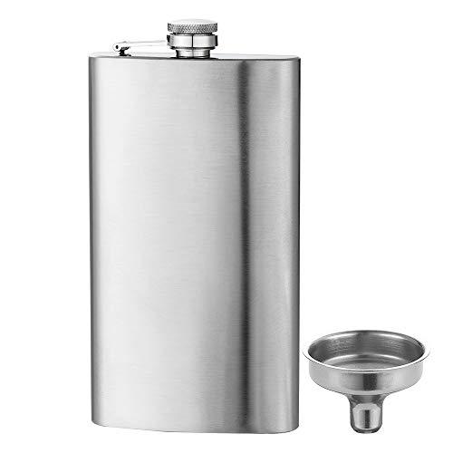 YFS Flask 12oz Steel Stainless Liquor for Men Drinking of Alcohol Whiskey Gift for Men, Leak Proof Pocket Hip Flask with Funnel