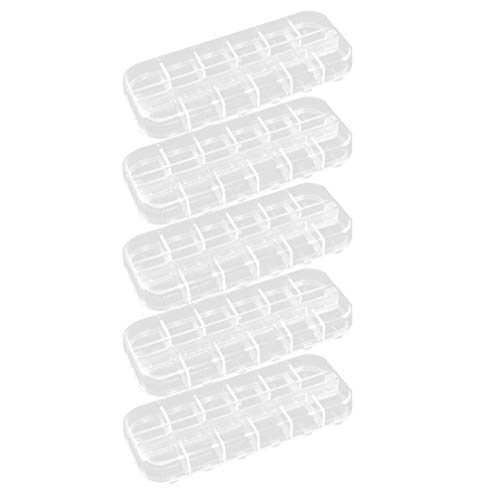 Exceart 5 Stks Doorzichtige Plastic Sieraden Doos Organizer 12 Roosters Opslag Container Bead Case Sieraden en Ambachten Compartiment Organisator