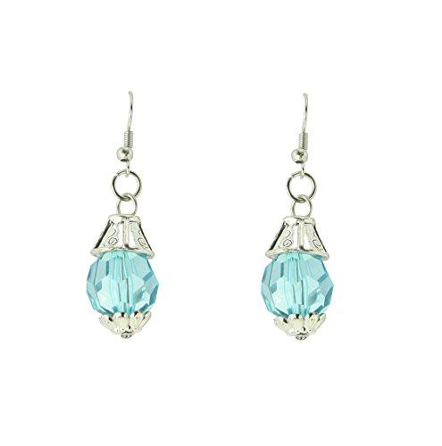 behave Pequeños pendientes de piedra de cristal azul claro – Pendientes plateados – Moda para mujer – Joyería antigua