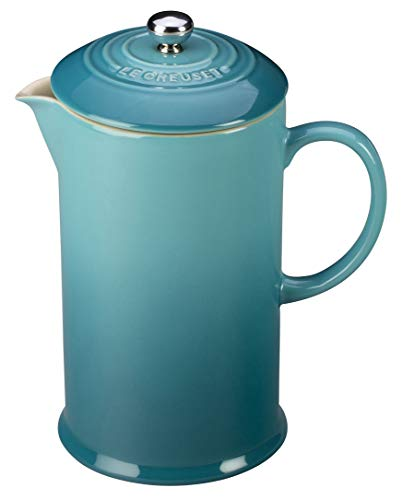 Le Creuset PG8200-1017 Stoneware French Press Coffee Maker, 27 oz, Caribbean