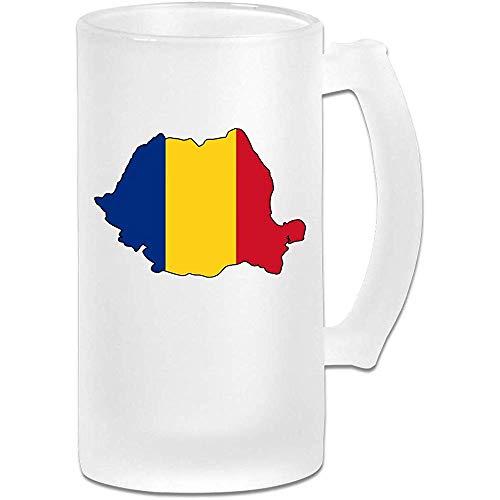 Roemeense vlag mat glas Stein bier mok, pub mok, drank mok, geschenk voor bier Drinker, 500Ml (16.9Oz)