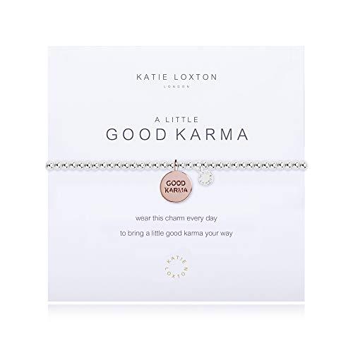 Katie Loxton A Little Good Karma Silver Women's Stretch Adjustable Charm Bangle Bracelet
