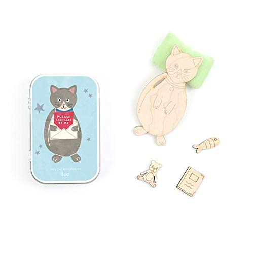 COTTON TWIST, Please Take Care Of Me - Cat in a Gift Tin Bed. Imaginative Play For Children