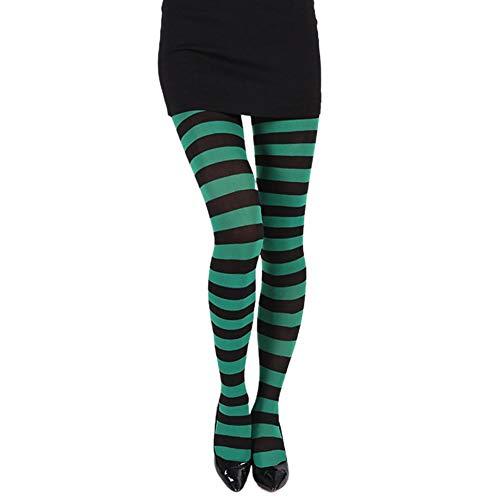 Fancylande panty voor dames, wit en zwart, gestreept, met panty's, meerkleurig, voor Halloween en rollenspellen, kostuum, kerstfeest Strisce nere verdi ·