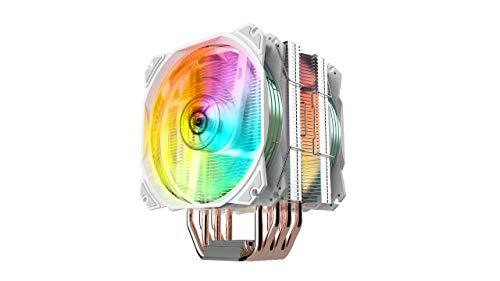 Nfortec Sculptor - Dissipatore ad aria per CPU ad alte prestazioni con illuminazione ARGB e compatibile con Intel e AMD - Bianco