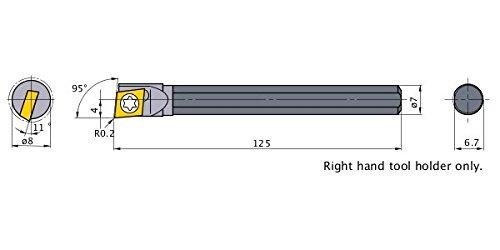 3 mm Shank Dia 0.2 mm Radius Non-Coated Right 50 mm Length Mitsubishi Materials CB03RS-02B TF15 CB Series Carbide Micro-Mini Twin Boring Bar with Breaker