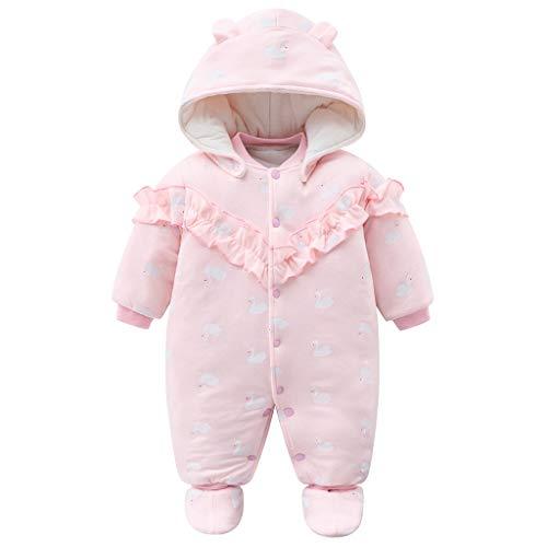 JiAmy Neugeborenes Mädchen Winter Overalls mit Füßlinge Fleece Schneeanzüge Mit Kapuze Warm Outfits Rosa 0-3 Monate