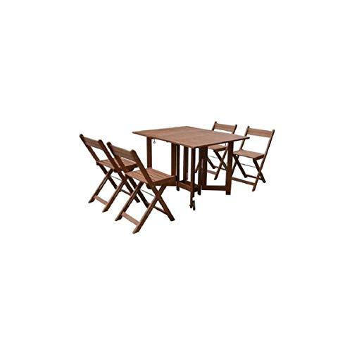 Générique Set de Table carré avec 4 chaises Pliantes - en Eucalyptus