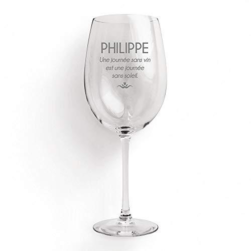 CADEAUX.COM Verre à vin Personnalisable - Verre de vin gravé 35 cl - Une journée sans vin est Une journée sans Soleil - Idée Cadeau Anniversaire, Noël, départ en Retraite