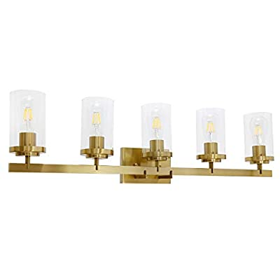 BONLICHT Bath Vanity Light Fixture 5 Light Modern Industrial Metal Black Wall Sconce Bathroom Lighting Farmhouse Style Indoor Porch Wall Mounted Lamp with Clear Glass for Kitchen Bar Living Room