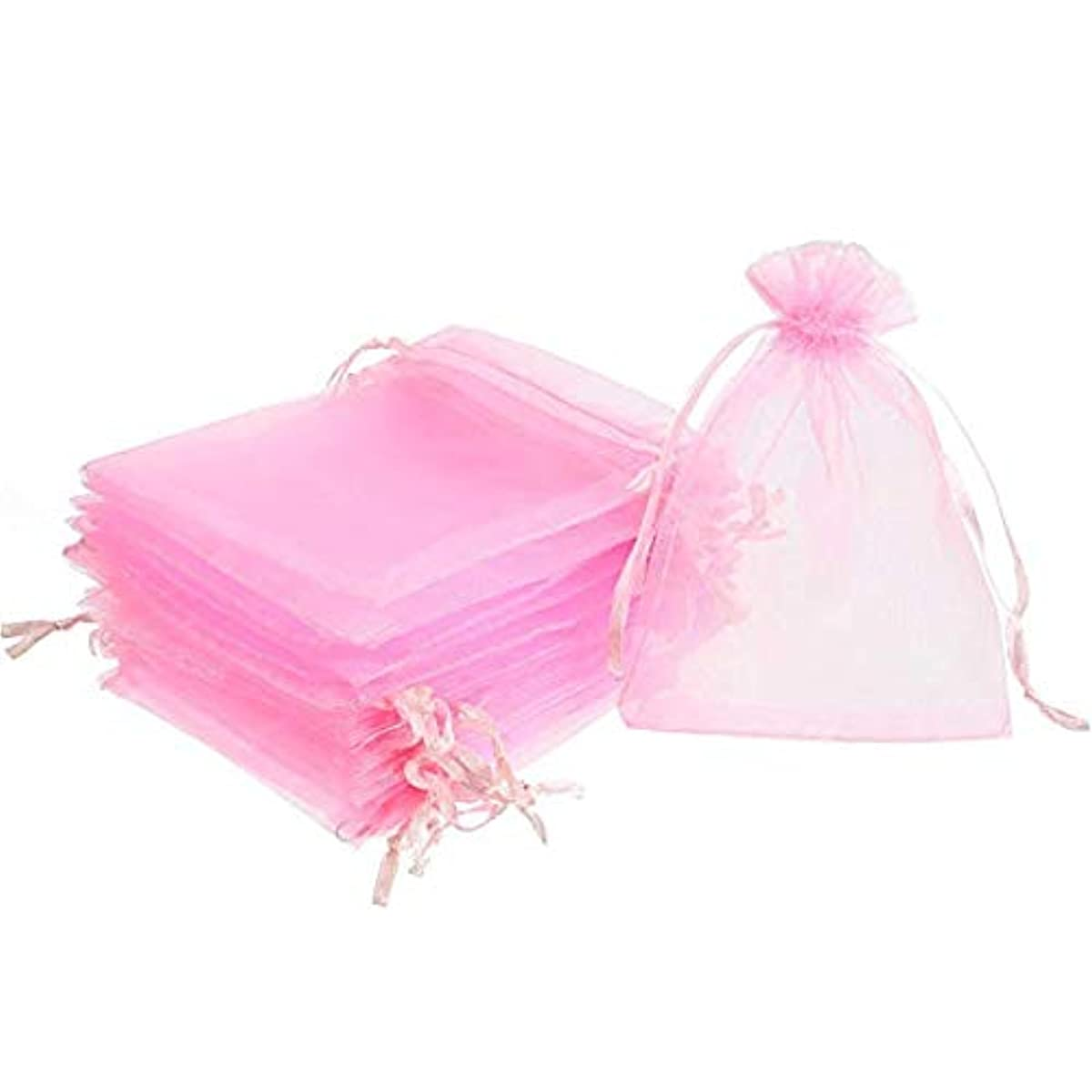 100Pcs Sheer Organza Bags Jewelry Candy Drawstring Pouches for Wedding Party Christmas Favor Gift Bags (Pink, 5x7
