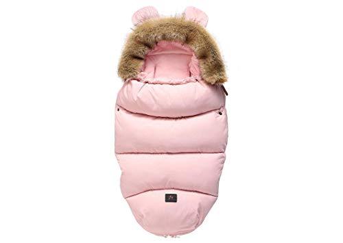 Saco de dormir para cochecito de bebé saco de dormir cálido de primavera e invierno saco de bebé para bebé recién nacido sobre silla de ruedas bolsa de pie,Pink fur collar