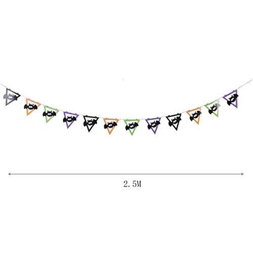 CTOBB Halloween Bat Banne vlaggen slinger vleermuizen opknoping Decor zwart oranje paars groen voor binnen en buiten