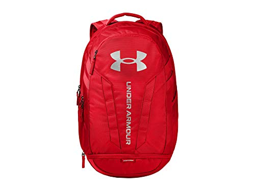 Under Armour Adult Hustle 5.0 Backpack , Red (600)/Silver , One Size Fits All