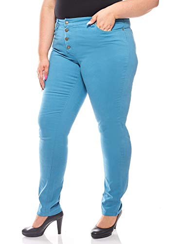 Sheego Pieghe Stretch Jeans Donna Large Size Longsleeve Benzina, Dimensione:48 (96 Langgröße)