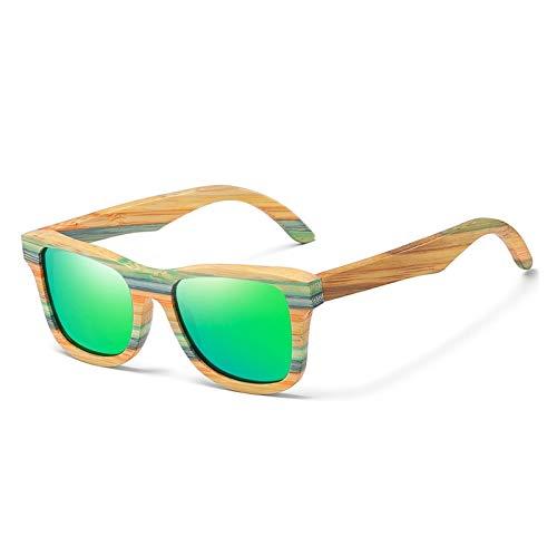 ZSHXX Skateboard Wood Bamboo Gafas de Sol Polarizadas para Mujeres para Hombre Gafas de Sol de Madera Lente de protección UV (Lenses Color : Green)
