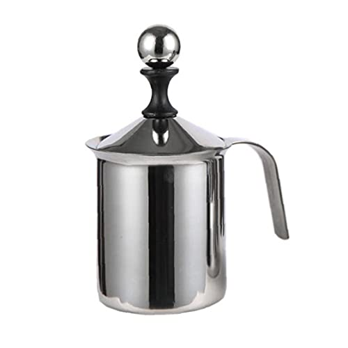 Batidor de Leche de Acero Inoxidable Fabricante de Espuma Herramienta de Plata Mannual Operado de Doble Capa para el café de la Cocina