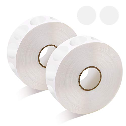 WYKOO 3000 Pieces 1 Inch Clear Round Stickers, Mailing Envelope Sealer Wafer Shape Sticker Dots, Transparent Strong Circle Seal Labels with Perforation Line in Roll (2 Rolls)