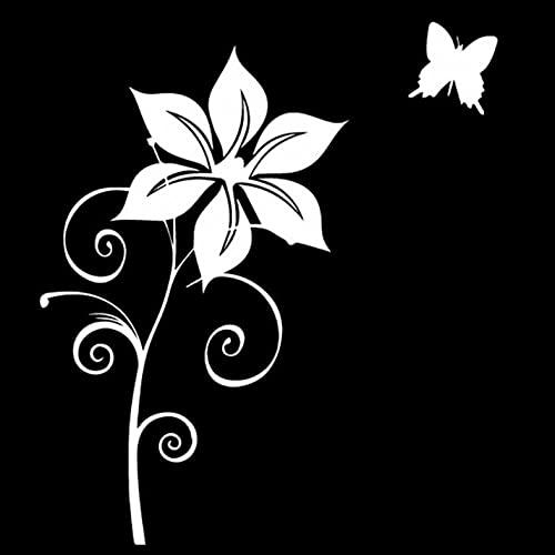 PAOPD 3 Piezas de Pegatinas de Coche de 13,8 CM * 15,8 CM de Flor de Sol con Mariposa Divertida Pegatina de Coche, Furgoneta, Ordenador portátil, Puertas o Paredes, Ideal para Furgonetas Camper