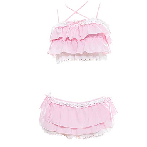 YOMORIO Womens Kawaii Japanese Ruffle Bikini Swimsuit Anime Cute Cat Cosplay Lingerie Costume (Pink)