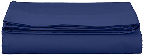 AmazonBasics - Sábana encimera (algodón satén 400 hilos, antiarrugas), 240 x 320 + 10 cm - Azul marino