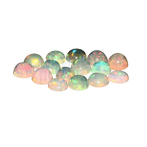 Natural White Welo Feuer Ethiopian opal AA Qualität 2 mm runde Form Cabochon kalibrierte Größe loser Edelstein|Natur Ethiopian Welo opal|Ethiopian Welo|Feuersteine ??für Schmuck machen