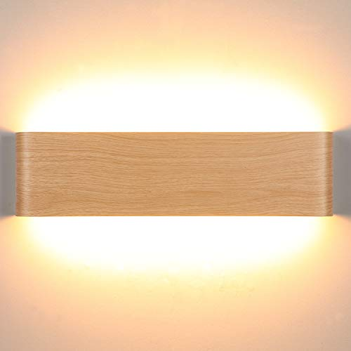 Lightess 16W Apliques de Pared LED Moderna Lámpara de Pared Interior Luz de Aluminio Acrílico Iluminación para Salón Sala de Estar Dormitorio Baño Escalera (blanco cálido, color de madera)
