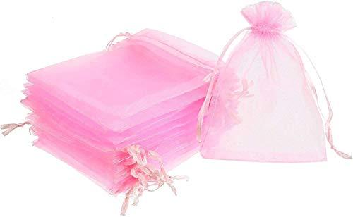 non-branded Borse in Organza,100 pz Sacchetti Regalo Grande Organza con Coulisse per portaconfetti Bomboniera Confetti Matrimonio Compleanno Battesimo Rosa (100 pz, 9 x 12 cm)