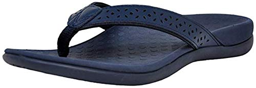 Vionic Women's Tide Perf Toe-Post - Ladies Flip Flops with Concealed Orthotic Arch Support Navy 6 Medium US