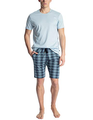 Calida Herren Casual Cotton Zweiteiliger Schlafanzug, Blau (Tempest Blue 533), Small (Herstellergröße: S)