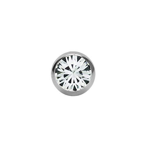 eeddoo Piercingkugel Kristall Silber Edelstahl Gewinde: 1,2 mm Kristallklar 3 mm