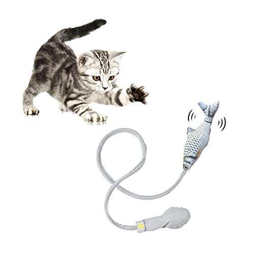 FuninCrea Interaktives Katzenspielzeug, weiches Plüschspielzeug für drinnen mit Glocke und lustigem Airbag, Katze Plüschspielzeug für Kätzchen Übung, um Zeit zu vertreiben und fit zu halten (Fisch)
