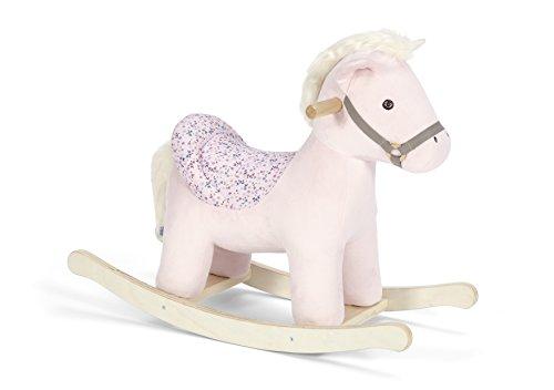 Mamas & Papas Rocking Horse Unicorn, Plush Pink Rocking Unicorn Horse Toy with Solid Wooden Base and Raised Seat, Nursery Staple - Belle