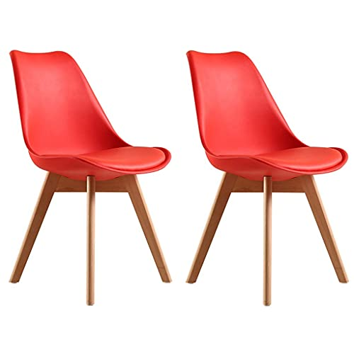 HYRGLIZI Set of 2 Tulip Kitchen Chair Natural Beech Wood Legs with Cushion Pad for Office Lounge Dining Kitchen - Colors to Choose from (Color : Red)