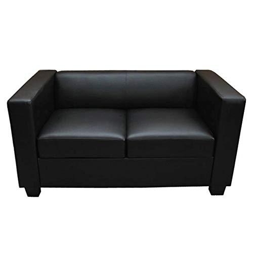 Mendler 2er Sofa Couch Loungesofa Lille - Kunstleder, schwarz