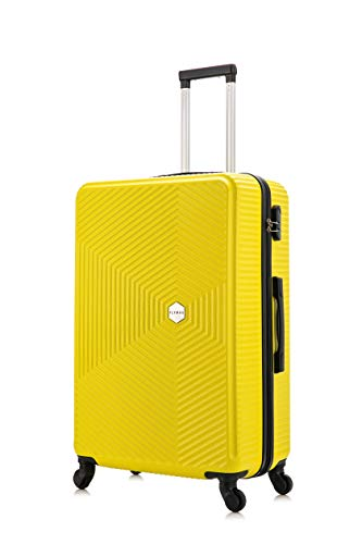 Flymax 24' Medium Suitcase Super Lightweight 4 Wheel Spinner Hard Shell ABS Luggage Hold Check in Travel Case Yellow